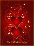 Rode prentbriefkaar 1 van de Valentijnskaart Stock Illustratie