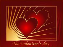 Rode prentbriefkaar 3 van de Valentijnskaart Stock Illustratie