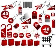 Rode prijskaartjes Royalty-vrije Stock Afbeelding