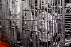 Rode productiecompressor stock fotografie