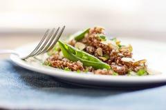 Rode Quinoa met Sugar Snap Peas Stock Afbeelding