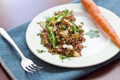 Rode Quinoa met Sugar Snap Peas Stock Foto's
