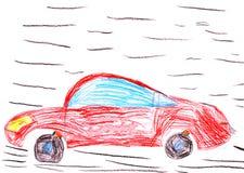 Rode raceauto. de tekening van het kind royalty-vrije illustratie