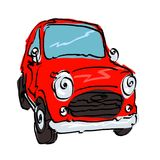 Rode retro auto royalty-vrije stock afbeelding