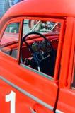 Rode retro auto, Close-up, selectieve nadruk royalty-vrije stock afbeeldingen