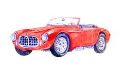 Rode retro sportwagen Stock Afbeeldingen