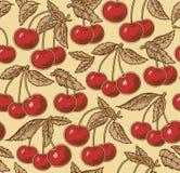 Rode rijpe kers, geïsoleerde boom Gravure, tekening freehand flora Uitstekende vector realistische illustratie Naadloze achtergro royalty-vrije illustratie