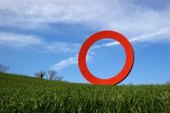 Rode Rolling Cirkel royalty-vrije stock afbeelding