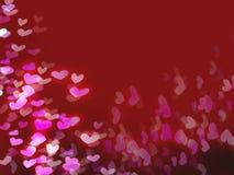 Rode romantische achtergrond met harten stock illustratie