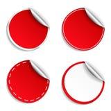 Rode Ronde Stickers Royalty-vrije Stock Afbeeldingen