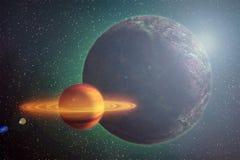 Rode roodgloeiende planeetbewegingen in kosmische ruimte onder de sterren, abstrac Stock Fotografie