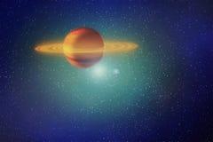 Rode roodgloeiende planeetbewegingen in kosmische ruimte onder de sterren, abstrac Stock Foto