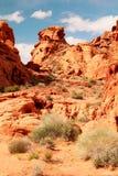 Rode rotsen bij Vallei van brand Royalty-vrije Stock Afbeeldingen