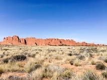 Rode rotsen, Bogen Nationaal Park, Moab, Utah Stock Afbeeldingen