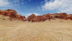 Rode rotsen onder onvruchtbaar land stock illustratie