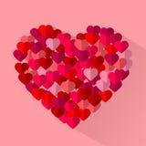 Rode, roze vlakke vectorliefdeharten, de kaartenachtergrond van de valentijnskaartvakantie Royalty-vrije Stock Fotografie