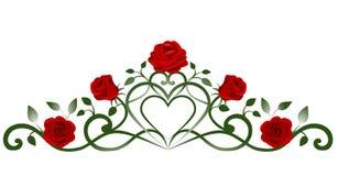 rode rozen en bladerendecoratie vector illustratie