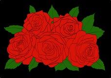 Rode rozen met groen bladerenclose-up op zwarte Stock Afbeelding