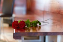 Rode rozen op bank bij begrafenis in kerk stock fotografie