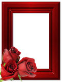 Rode rozen op een rood kader voor foto's. Royalty-vrije Stock Foto's
