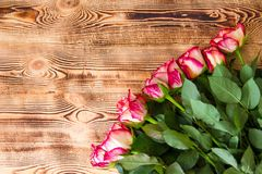 Rode rozen op houten achtergrond stock afbeelding