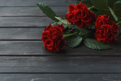 Rode rozenbloemen over zwarte houten achtergrond royalty-vrije stock foto's