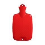 Rode rubber medische die warm waterfles met water wordt gevuld Stock Foto's