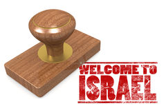 Rode rubberzegel met onthaal aan Israël Stock Fotografie