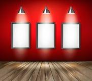 Rode ruimte met schijnwerpers en houten vloer Royalty-vrije Stock Fotografie