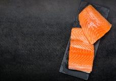 Rode Salmon Fish Fillet With Copy-Ruimte Stock Afbeeldingen