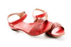 Rode sandals stock foto's