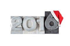 Rode santahoed op het cijfer 2016 Stock Afbeeldingen