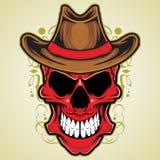 Rode Schedel met de Hoed van de Cowboy Stock Afbeeldingen
