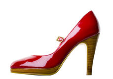 Rode Schoen met het Knippen van Weg Stock Foto