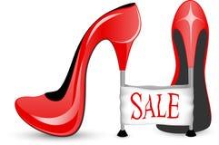 Rode schoen met hoge hielen Stock Foto