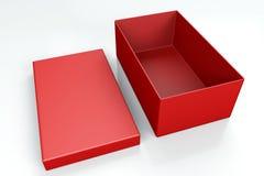 Rode schoendoos op wit Royalty-vrije Stock Foto's