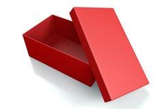 Rode schoendoos op wit Stock Afbeelding