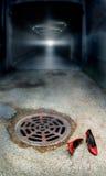 Rode Schoenen door Tunnel Stock Afbeelding