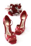 Rode schoenen en bloemen Royalty-vrije Stock Afbeelding