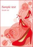 Rode schoenen, manierachtergrond, vlinder Royalty-vrije Stock Afbeeldingen