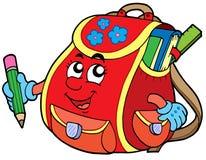 Rode schooltas Stock Afbeelding