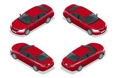 Rode Sedanauto Vlakke isometrische hoogte - de reeks van het het vervoerpictogram van de kwaliteitsstad Vector illustratie Stock Foto's