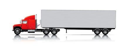 Rode semi - vrachtwagen Stock Foto