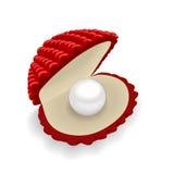 Rode shell met een parel op witte achtergrond Royalty-vrije Stock Foto's