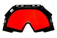 Rode skibeschermende brillen Stock Foto's