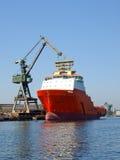 Rode sleepboot in scheepswerf Royalty-vrije Stock Foto