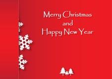 Rode sneeuwvlok met Kerstboom op rode achtergrond Royalty-vrije Stock Fotografie