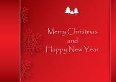 Rode sneeuwvlok op rode achtergrond, Kerstmis en Gelukkig Nieuwjaar ve Stock Foto's