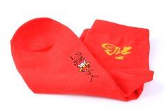 Rode sokken royalty-vrije stock afbeelding