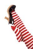 Rode sokkenvoet op schoen Royalty-vrije Stock Afbeelding
